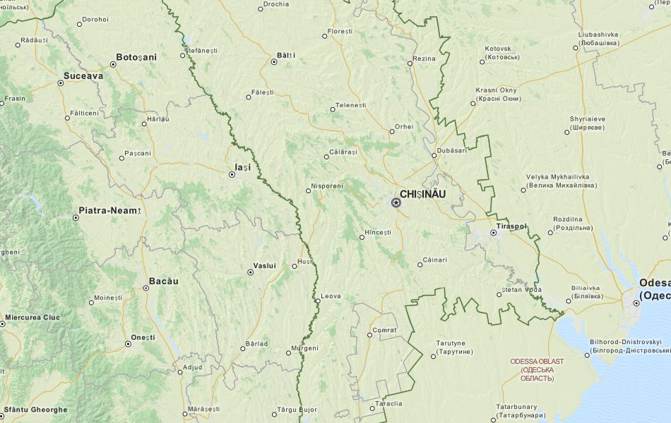 Map of Moldova in ExpertGPS GPS Mapping Software