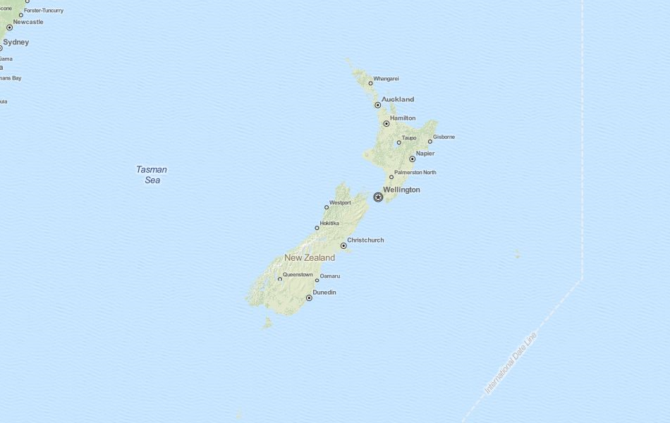 Map of New Zealand in ExpertGPS GPS Mapping Software