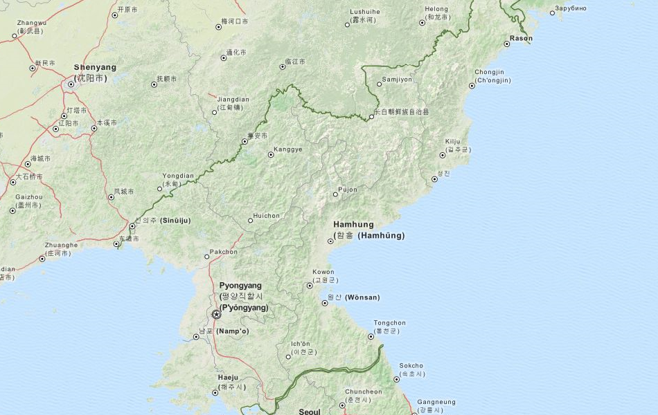 Map of North Korea in ExpertGPS GPS Mapping Software