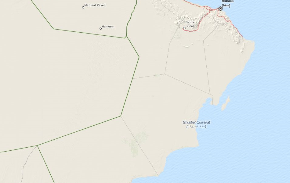 Map of Oman in ExpertGPS GPS Mapping Software
