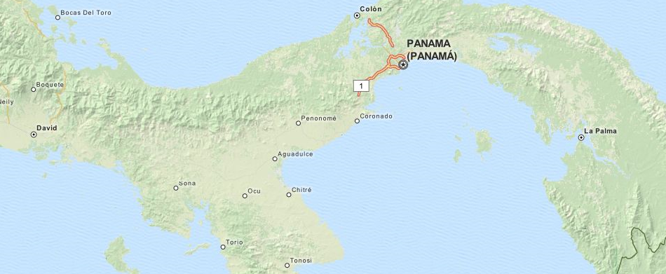 Map of Panama in ExpertGPS GPS Mapping Software