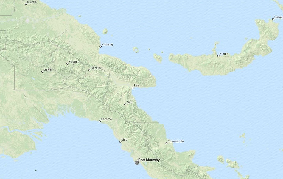 Map of Papua New Guinea in ExpertGPS GPS Mapping Software
