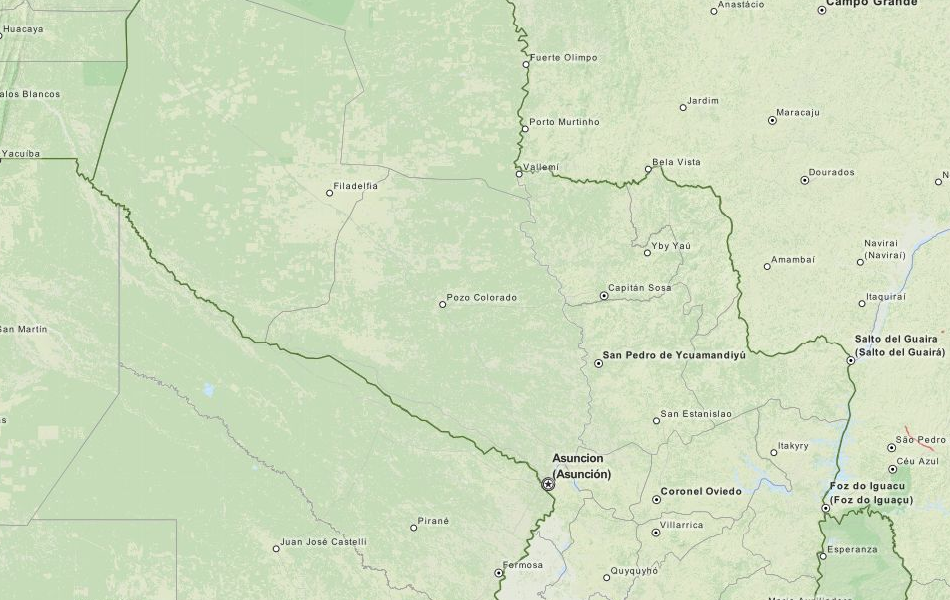 Map of Paraguay in ExpertGPS GPS Mapping Software