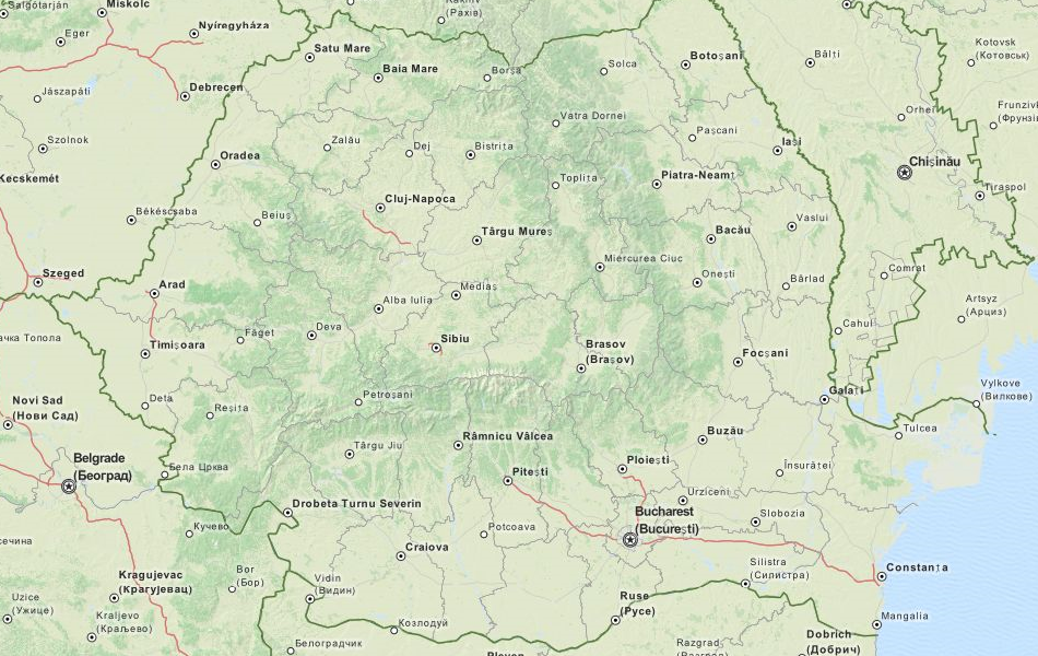 Map of Romania in ExpertGPS GPS Mapping Software