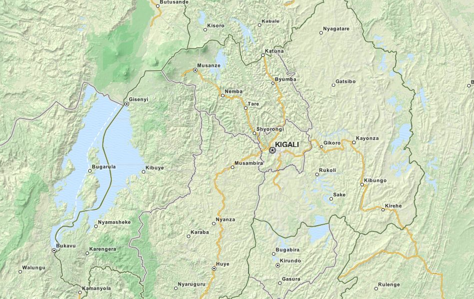 Map of Rwanda in ExpertGPS GPS Mapping Software