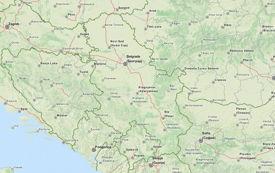 Map of Serbia in ExpertGPS GPS Mapping Software