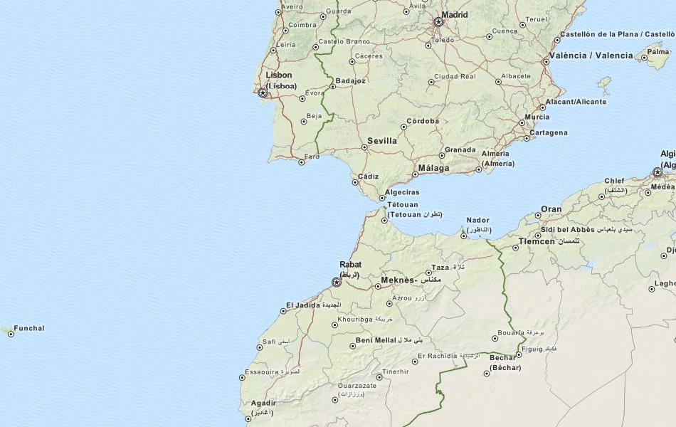 Map of Spain in ExpertGPS GPS Mapping Software