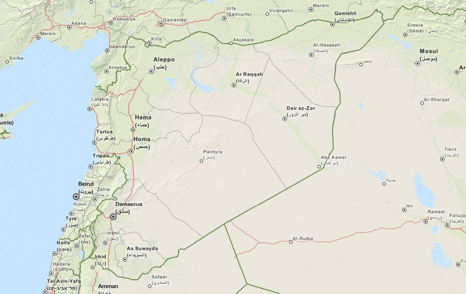 Map of Syria in ExpertGPS GPS Mapping Software
