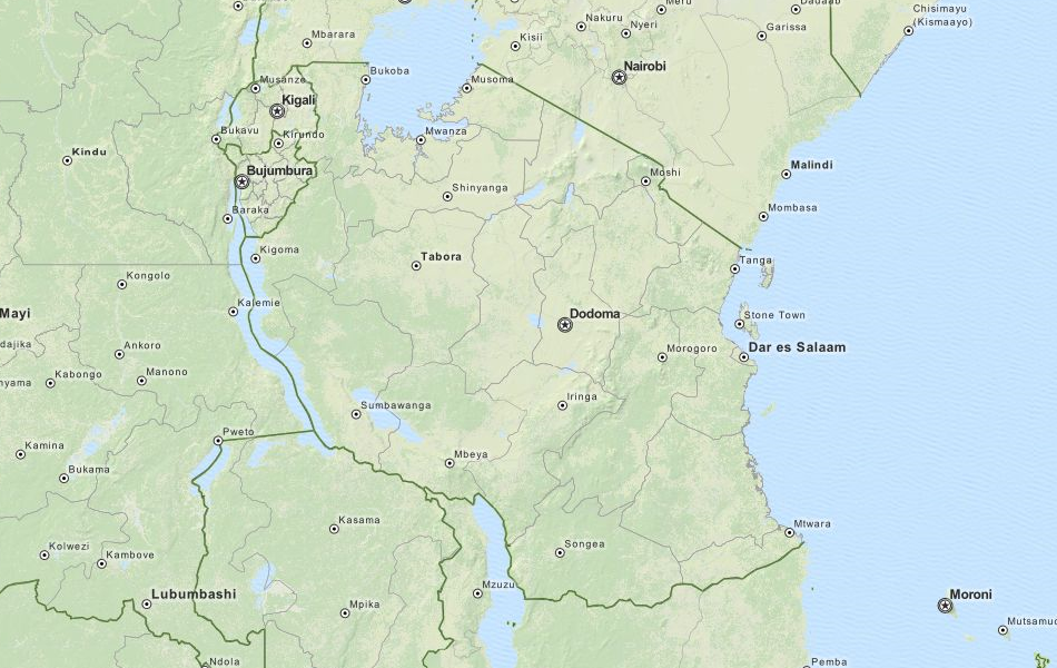 Map of Tanzania in ExpertGPS GPS Mapping Software