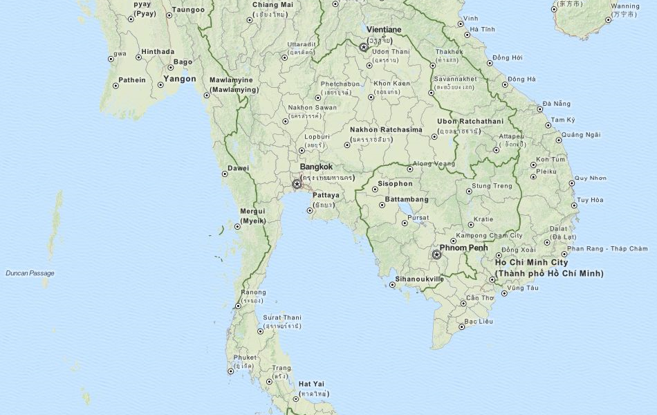 Map of Thailand in ExpertGPS GPS Mapping Software