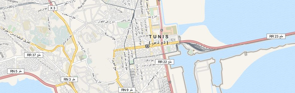 Map of Tunisia in ExpertGPS GPS Mapping Software