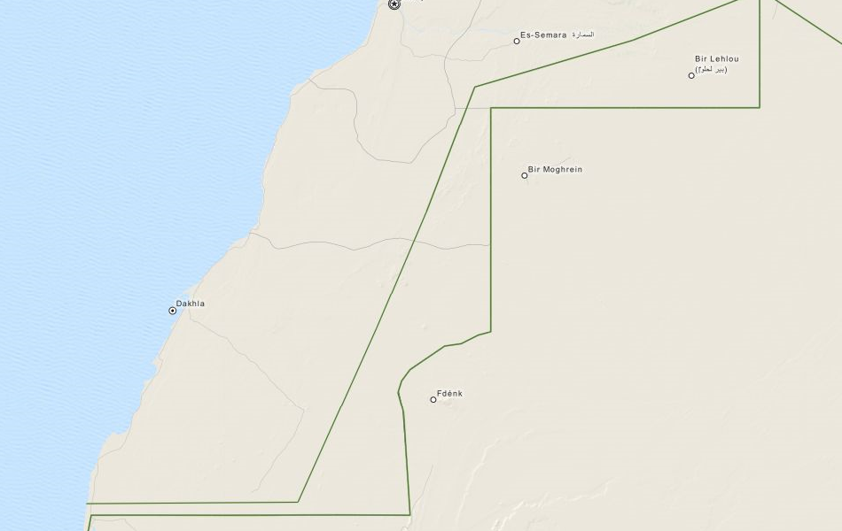 Map of Western Sahara in ExpertGPS GPS Mapping Software
