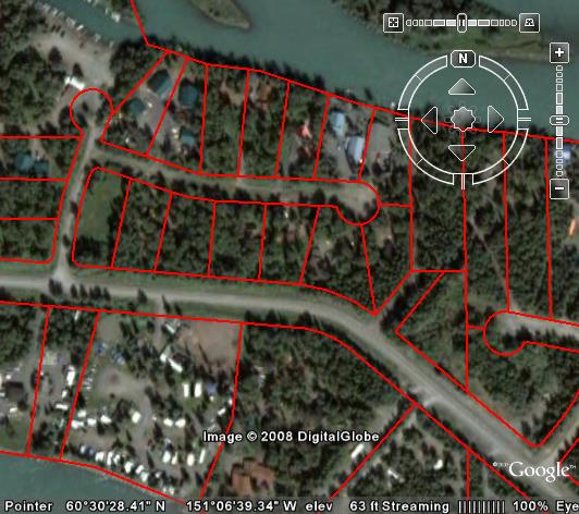 Google Earth Displaying DXF Parcel Map Showing New Subdivision in Soldotna, Alaska