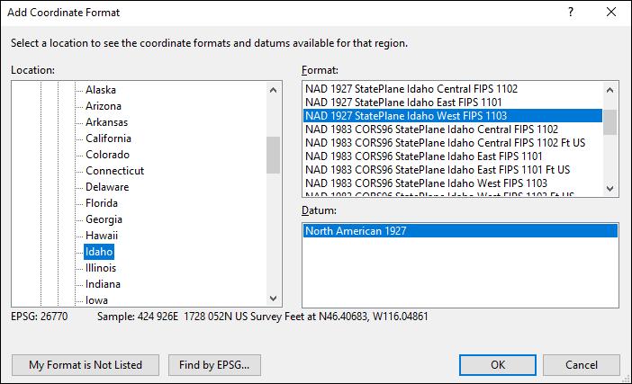 Idaho coordinate and datum converter: Idaho state plane, UTM, lat/long, NAD83, NAD27, WGS84