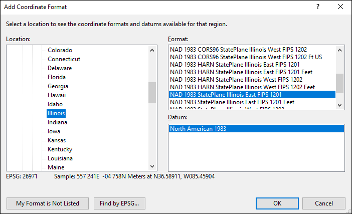 illinois coordinate and datum converter: illinois state plane, UTM, lat/long, NAD83, NAD27, WGS84