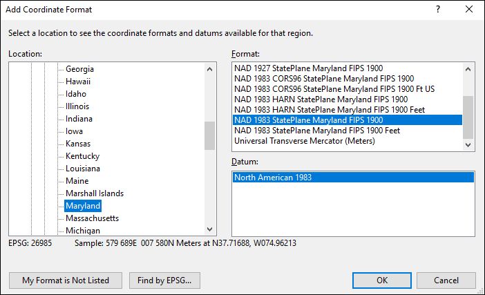 Convert Maryland State Plane Coordinates in NAD83 to from UTM or