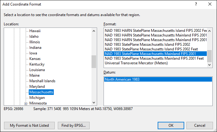 Massachusetts coordinate and datum converter: Massachusetts state plane, UTM, lat/long, NAD83, NAD27, WGS84