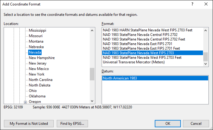 Nevada coordinate and datum converter: Nevada state plane, UTM, lat/long, NAD83, NAD27, WGS84