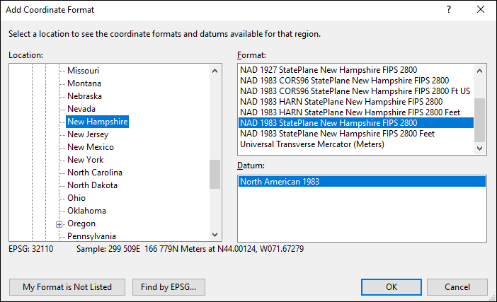 new hampshire coordinate and datum converter: new hampshire state plane, UTM, lat/long, NAD83, NAD27, WGS84