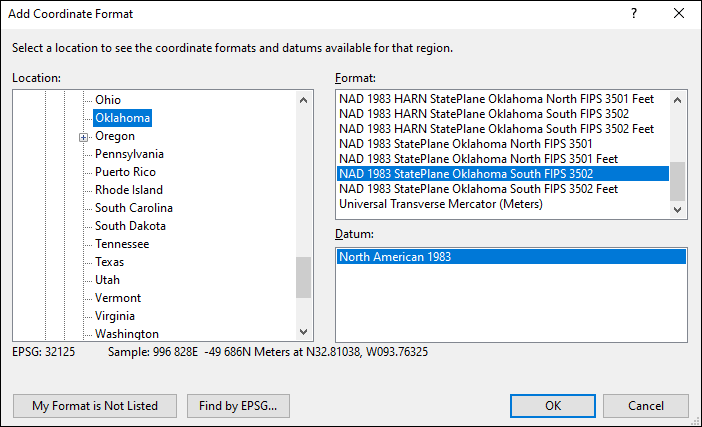 Oklahoma coordinate and datum converter: Oklahoma state plane, UTM, lat/long, NAD83, NAD27, WGS84
