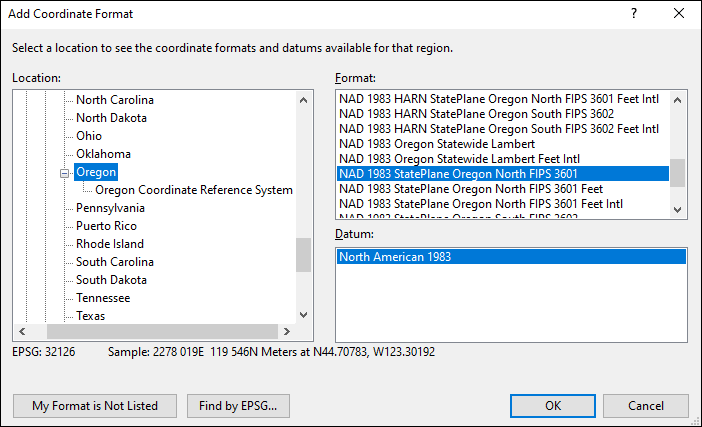 Oregon coordinate and datum converter: Oregon state plane, UTM, lat/long, NAD83, NAD27, WGS84