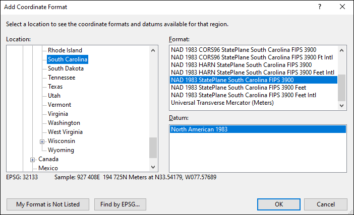South Carolina coordinate and datum converter: South Carolina state plane, UTM, lat/long, NAD83, NAD27, WGS84