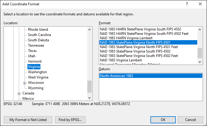 Virginia coordinate and datum converter: Virginia state plane, UTM, lat/long, NAD83, NAD27, WGS84