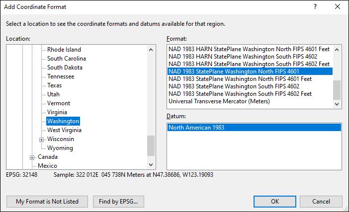 washington coordinate and datum converter: washington state plane, UTM, lat/long, NAD83, NAD27, WGS84
