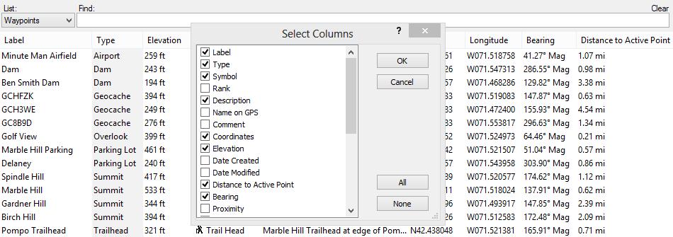 Waypoint List